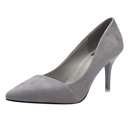 Talon Escarpins Femme Escarpins Petit Gris Wide en Chaussures de Fit Daim Soirée Confortables 5CM Pointus qtp1F