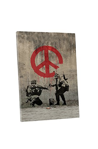 Pingo World 0829QGFJJGG Banksy Peace Sign Soldiers Gallery Wrapped Canvas Wall Art, 20