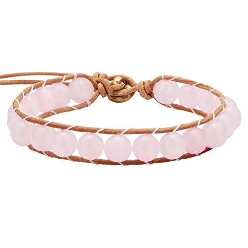(SUNYIK Rose Quartz Bracelets for Women, Leather Wrap Healing Beaded Bracelets for Unisex 8