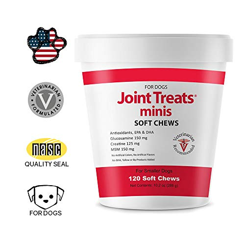 Joint Treats MINIS for Smaller Dogs - Vitamins, Minerals, Antioxidants, Omega-3 Fatty Acids EPA, DHA - Maximum Joint Health Supplement for Dogs - 120 Soft Chews