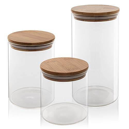 Glass Food Jar Canister with Bamboo Lid - Set of 3 25/33/49 FL OZ - Wooden Airtight Silicone Sealing - Kitchen Bathroom Pantry Organization - BPA Free Eco Friendly - Cereal, Cookie, Pasta, Rice Jars
