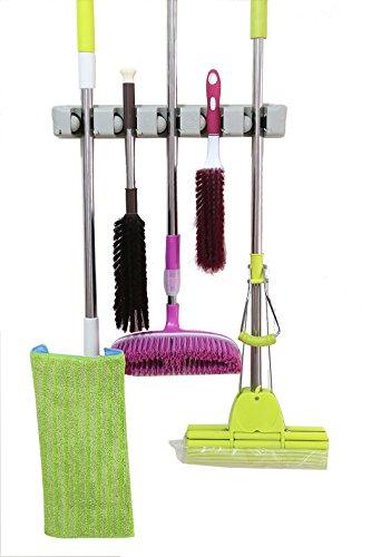Cinlv 5 Position 6 Hooks Broom Holder Wall Mounted Mop and Broom Hanger Holder Garage Storage Rack & Garden Tool Organizer Home, kitchen, Garden, Tools, Garage Organizing