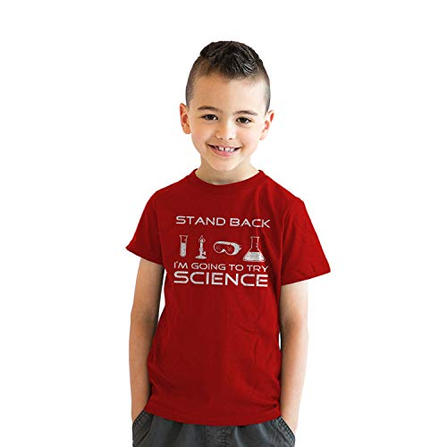 Youth Stand Back Science Funny Shirts Cool Humorous Nerdy T Shirts for Geeks (Red) - L