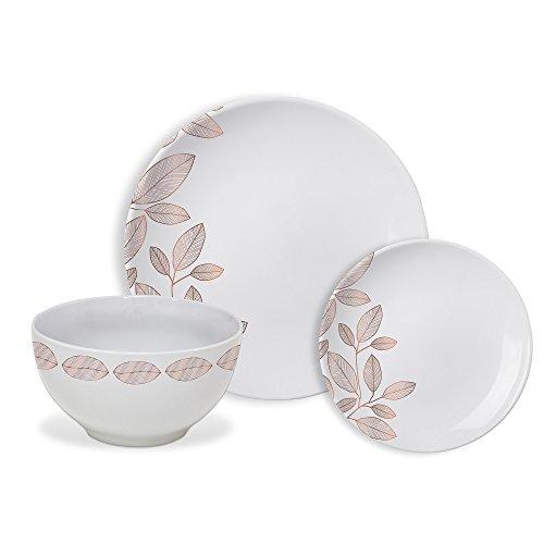 (Safdie & Co. HK02357 Rose Gold Foliage Dinnerware Set White)