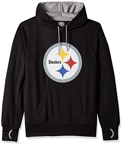 NFL Pittsburgh Steelers Male OTS hooded Pullover, Jet Black, Large