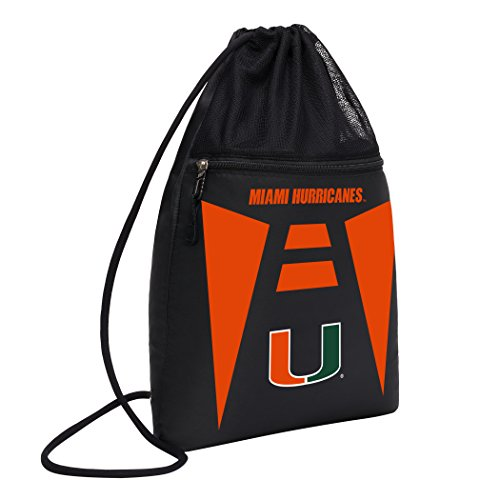 Officially Licensed NCAA Miami Hurricanes Team Tech Backpack Backsack, One Size