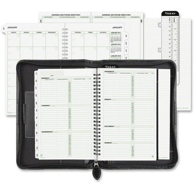 Day-Timer 85467 - Green Series Basque Leather Wirebound Organizer, 5-1/2 x 8-1/2, (Green Series Basque Leather)