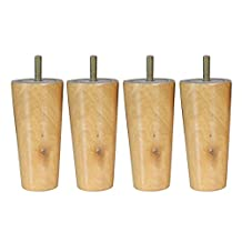 """4pcs 4"""" 5"""" 6"""" 8"""" Height Cone Shape Eucalyptus Solid Wood Furniture Sofa Legs - Natural, 5inch H"""