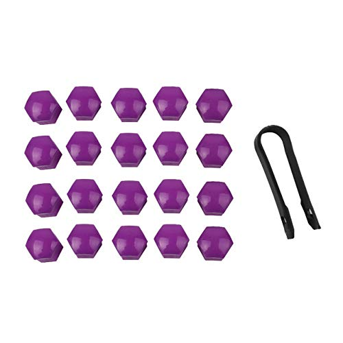TOOGOO 20 pcs Purple Plastic Wheel Lug Nut Bolt Cover Cap with Removal Tool for Car,17mm by TOOGOO (Image #2)