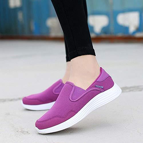 Ancianos Antideslizantes de Zapatos Femeninos Malla Zapatos Deportivos Zapatos Transpirable Fondo purple Zapatos Hasag de Madre Suave de Zapatos Planos qdxPtdIw