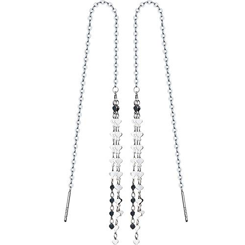Threader Earrings, 925 Sterling Silver Heart Beaded Long Tassel Dangle Drop Earrings Hypoallergenic Ear Chain for Women