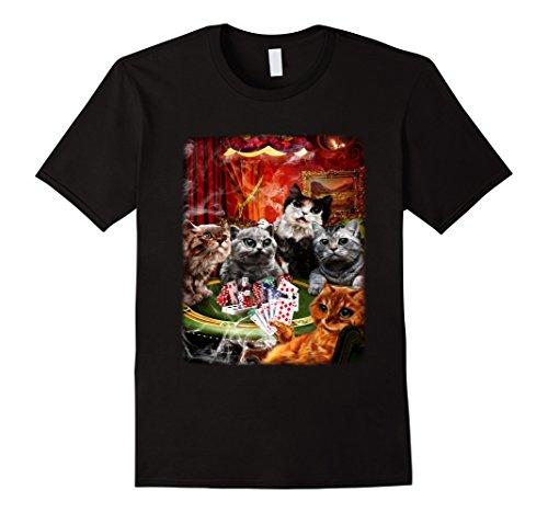 Men's T-Shirt - Pack of Cute Kittens Playing Poker, Gambling Cat 2XL Black - Cat Poker