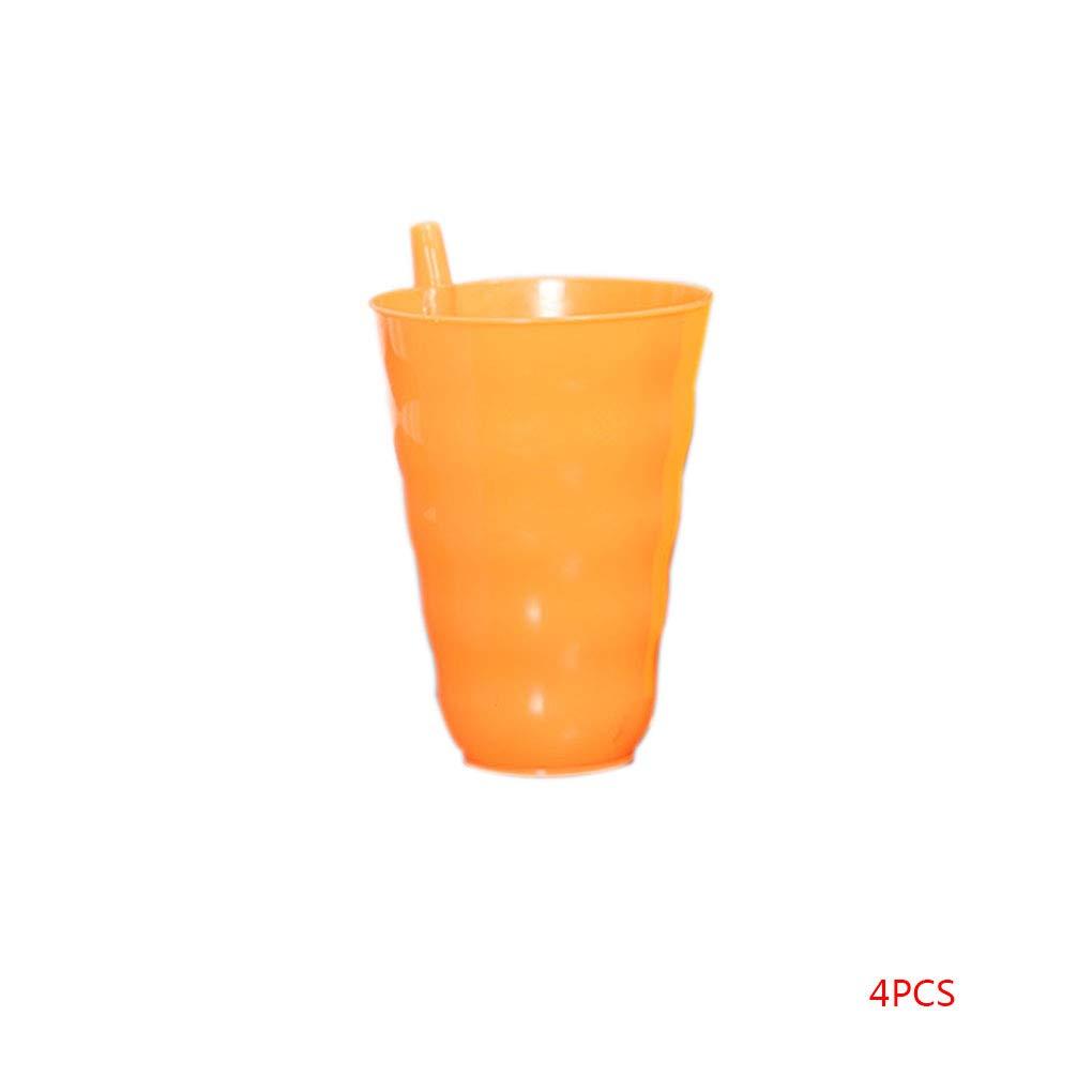 Windy5 8pcs 4pcs color/é construit dans la Tasse de Paille gobelet en Plastique Boisson Chaude Froide de jus de Boisson Enfants /à la Maison Tasse antid/érapante