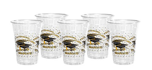 Party Essentials N830522 60Count Soft Plastic 16 oz Printed Party Cups, Graduation, (Printed Plastic Cups)