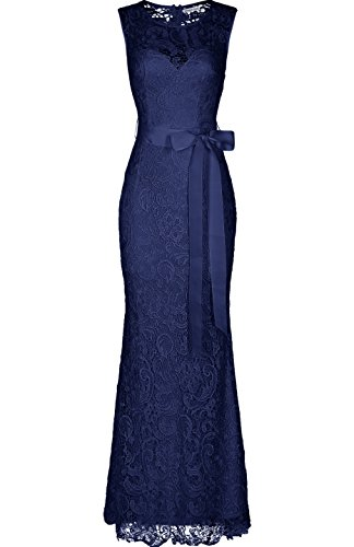 Absolute Rosy Women's Sleeveless Lace Prom Bridesmaid Long Evening Dress Navy L