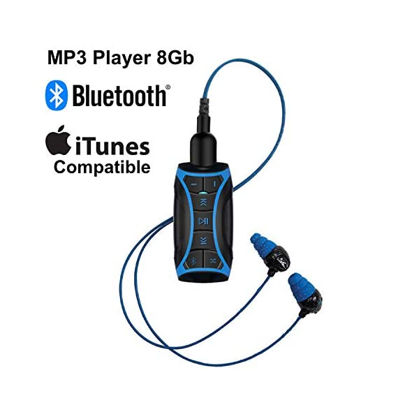 MP3 Music Player with Bluetooth and Underwater Headphones for Swimming Laps, Watersports, Short Cord, 8GB 3