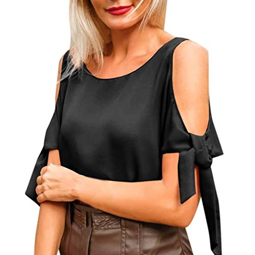 Shusuen Women's Casual Solid Color Blouse Tees with Bow Tie Elegant Pullover Black - Olive Oyl Golf