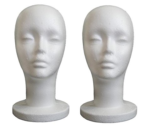 2Pcs Female Model Head Wig Stand,Styrofoam Head Mannequins, Manikin Head Model Foam, Display Women's Wigs, Hats & Hairpieces by (Dome Forms)