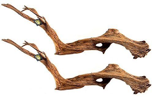 (2 Pieces) Galapagos Sinkable Driftwood Bed, Natural, Large/18-24'' by Galapagos