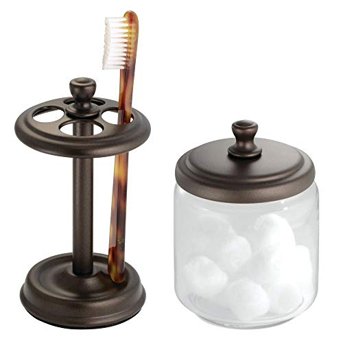 mDesign Glass Apothecary Jar and Toothbrush Holder Stand for Bathroom Vanities, 2 pc Set - Clear/Bronze - Glass Antique Toothbrush Holder