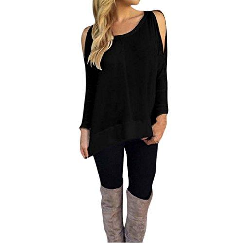 LHWY Las Mujeres Sin Tirantes O - Neck Long Sleeve T - Shirt Casual Irregular Loose Blusa Tops Negro
