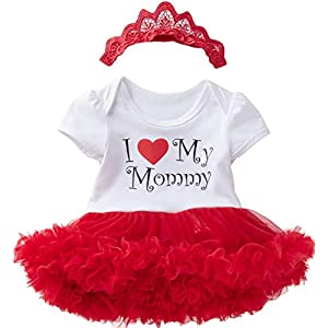 Detigee Happy Mother Day Dress Newborn Outfit Tutu Lace Baby Girls Skirt