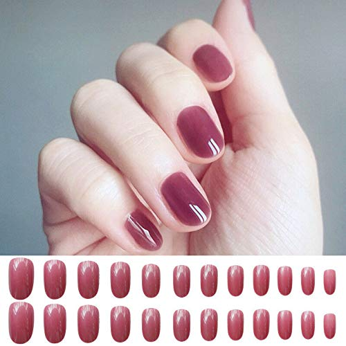 24pcs Acrylic False French Nails Full Finger Nail tips Art Cover Manicure+2g Gel (Styles - Style-17)