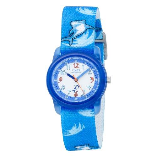 Kids Indiglo Elastic Strap Watch (Timex Kids' T7B702 Quartz Analog Sharks Elastic Band Watch)