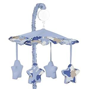 Sweet Jojo Designs Musical Baby Crib Mobile - Blue and Khaki Camo Camouflage