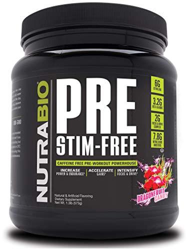 NutraBio Pre Stim Free - Caffeine Free Pre Workout (Dragonfruit Candy)