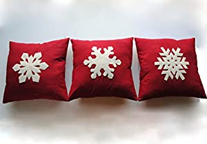 Three Snowflake Christmas Pillow covers, 20x20, holiday pillow, decorative  pillow, cushion, Christmas decoration