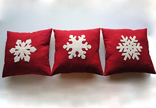 That Dutch Girl Three Snowflake Christmas Pillow Covers, Holiday Pillow, Decorative Pillow, Cushion, Christmas…