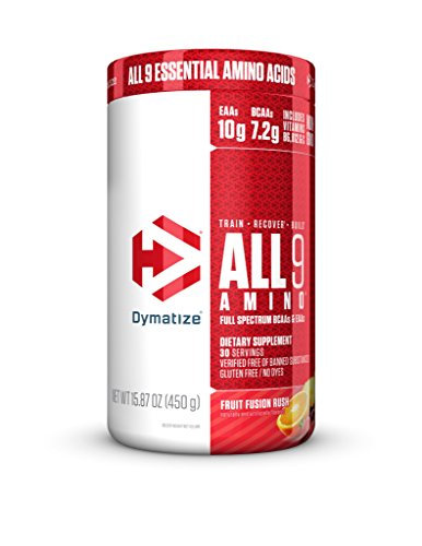 Dymatize All9 Amino with Full Spectrum BCAAs, 10g of Essential Amino Acids Per Serving For Optimal Muscle Protein Synthesis, Fruit Fusion Rush, 15.87 Oz