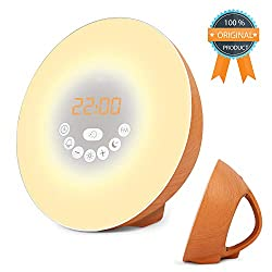 Sunrise Alarm Clock, Digital Clock, Wake Up Light with 6 Nature Sounds, FM Radio and Touch Control (Brown-Wood)
