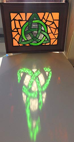 Stained Glass Trinity Knot - Celtic Trinity Knot Stained Glass Mosaic Art Panel in Frame 5 x 7 (Orange Background)