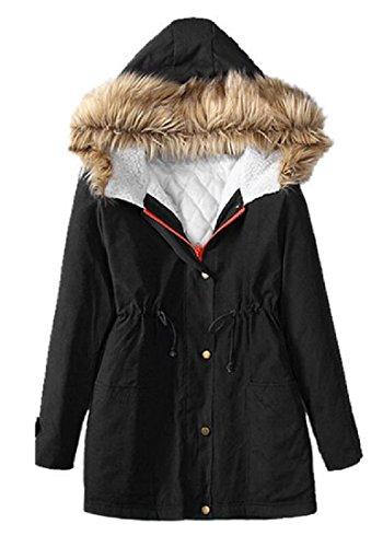 Sottile Di Trapuntata Pelliccia Collo Delle Cappotto Invernale Giacca Donne Atree Nera Parka aIS5T7xwnq