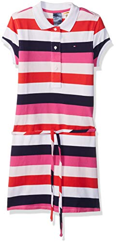 (Tommy Hilfiger Adaptive Girls Polo Dress with Magnetic Buttons and Tie Belt, White Stripes)