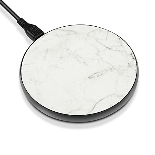 TNP Fast Wireless Charger - QI Wireless Fast Charging Pad Stand Station Dock for iPhone X iPhone 8 / 8 Plus Samsung Galaxy Note 8 S8 S8 Plus S7 S6 Edge Note 5 & All Qi Enabled Devices (Marble White)