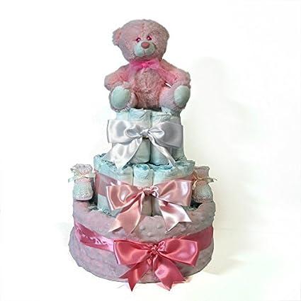 Tarta de pañales niña Dodot - Manta Topitos rosa - Mil Cestas ...