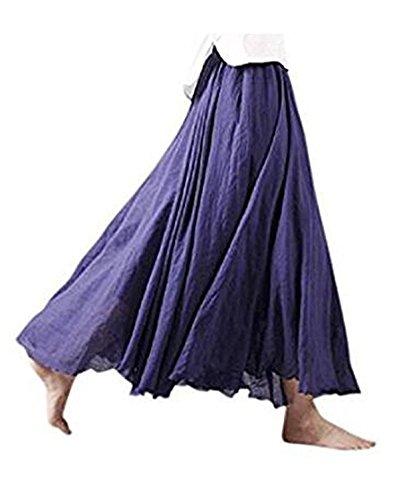Lin Doux Maxi Longues 20 cm Femme Taille Couche Couleurs Dames Confortable 95 Jupes Haute Ruiying Double Jupes Marine Jupe Coton Bleu Jupe WwvaYwEq