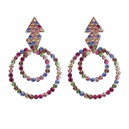 XBKPLO Silver Hoop Earrings for Women's Oversized Dangling Double Layer Rhinestone Dangle Stud Earrings Ladies Fashion Jewelry Gifts - Handcuff Chain Oversized Steel
