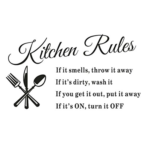 SJINC Newest Hot Sale Hot Removable Kitchen Rules Words Wall Stickers Decal Home Decor Vinyl Art Mural (B) (13)