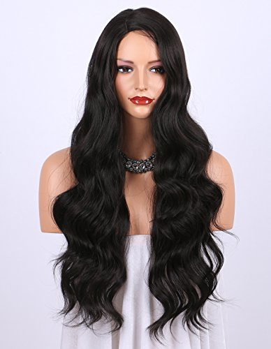 Kryssma Dark Brown Synthetic Wigs For Women Natural Looking Long Wavy Right Side Parting Heat Resistant Replacement Wig Full Machine Made 24 Inches 2