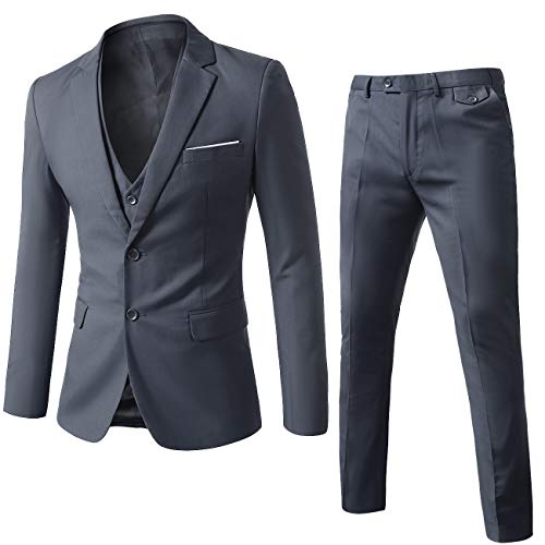 WEEN CHARM Mens Suits 2 Button Slim Fit 3 Pieces Suit Grey