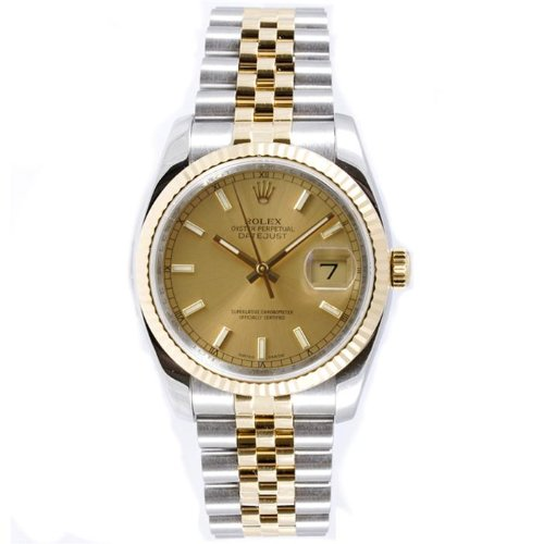 Rolex Mens New Style Heavy Band Stainless Steel & 18K Gold D (Rolex Stainless Steel Band compare prices)