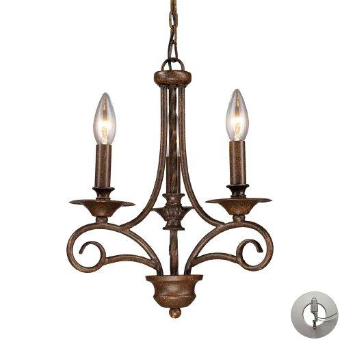 Elk Lighting 15041/3-LA Gloucester 3 Light Weathered Bronze-Includes Adapter Kit Chandelier ()
