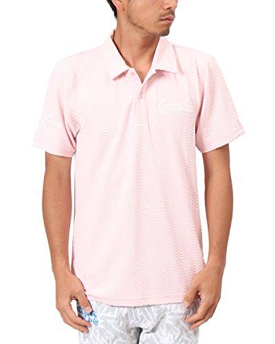 [ガッチャ ゴルフ] GOTCHA GOLF ポロシャツ 吸水速乾 ブリスター ジャカード ポロ 182GG1221 ベビーピンク XLサイズ