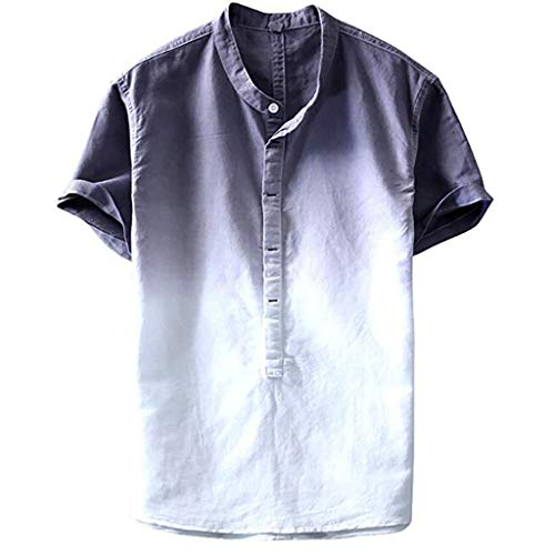 (FEDULK Mens Summer Tees Thin Breathable Stand Collar Hanging Dyed Gradient Button Up Short Sleeve T-Shirt(Gray, XXX-Large) )