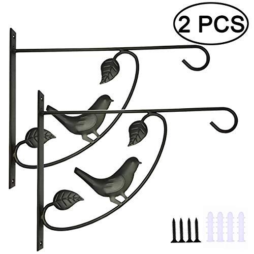 TIHOOD 2PCS Metal Plant Bracket Iron Wall Mount Lanterns Hangers for Hanging Bird Feeders, Lanterns, Wind Chimes, Planters, Outdoor Decoration Hooks (Bird x2)