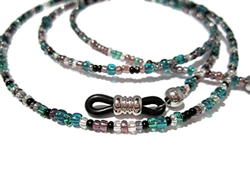 ATLanyards Purple, Teal and Black Eyeglass Holder with Black Pieces - Beaded Eyeglass Chain